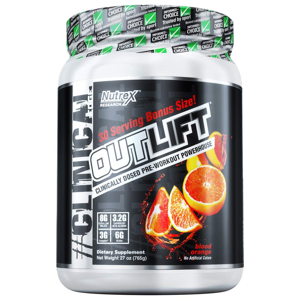 Nutrex Research Oulift Bonus Size Clinically Dosed Pre-Workout Powerhouse, Citrulline, BCAA, Creatine, Beta-Alanine, Taurine, Banned Substance Free Blood Orange 30 Servings