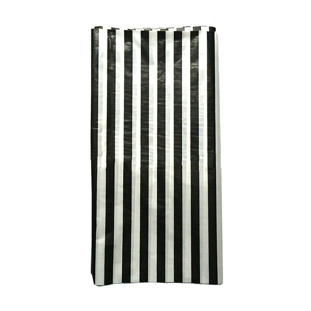 JINSEY Pack Of Plastic Black White Stripe Print Tablecloths - Picnic table print