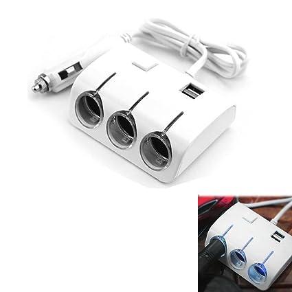 TWO - Cargador de enchufe múltiple USB de 3 vías para coche ...