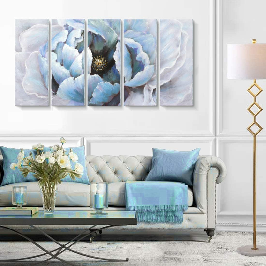 Abstract Flower painting canvas wall art pictures for living room bedroom home decor Original gray blue acrylic texture landscape decoration