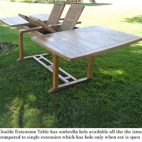 amazon teak outdoor dining set. amazon.com : new 9pc grade-a teak outdoor dining set-one larger double extension table 95x40\ amazon set i