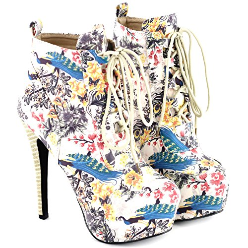 Ankle LF80833 Stiletto Goth Sexy Up Boot Heel Multicoloured Show Story Wooden Lace Platform wqCSWUTzp