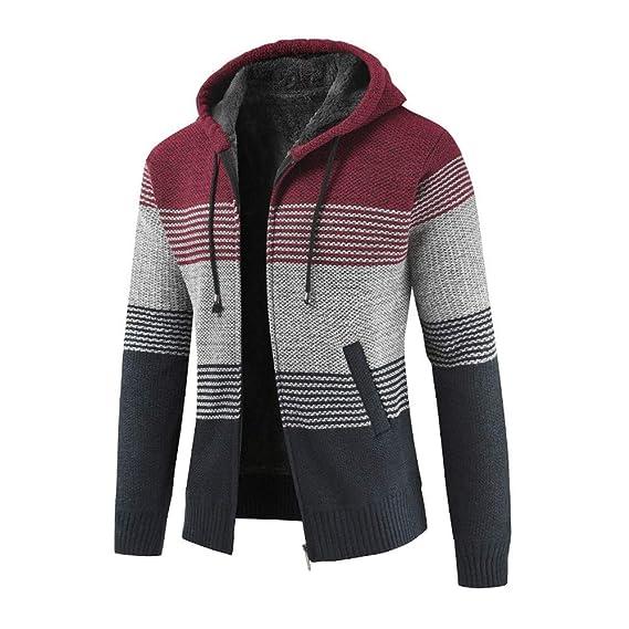 ErYao Mens Winter Cardigan Striped Zipper Hoodie Outwear ...