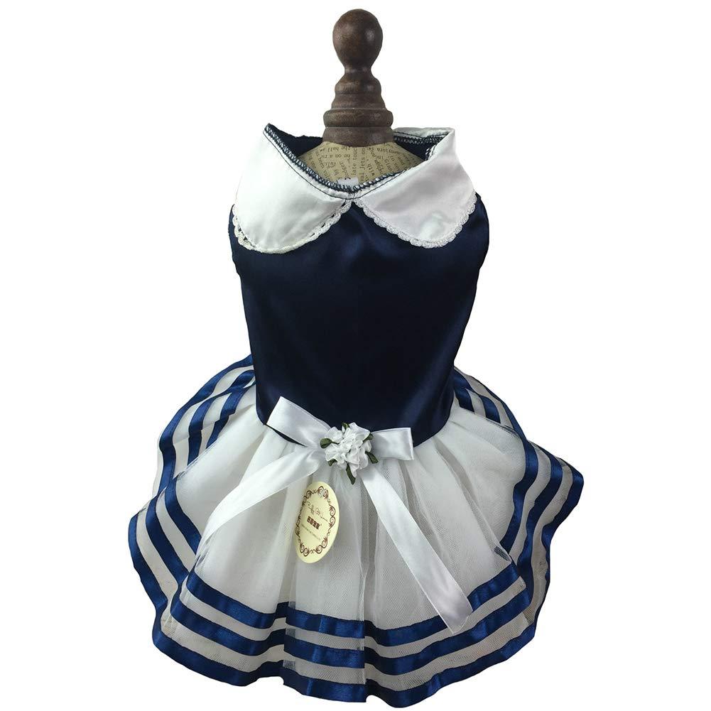 bluee M bluee M Princess Wedding Dresses Cute Navy Leisure Skirt Flower Dog Pet Cat,bluee,M