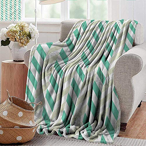 Xaviera Doherty Summer Blanket Chevron,Herringbone Springtime Microfiber All Season Blanket for Bed or Couch Multicolor 50
