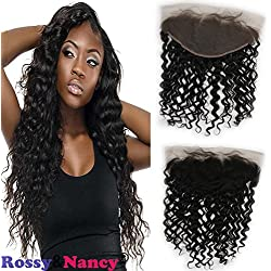 Rossy&Nancy Brazilian 8A Grade Human Hair Lace Frontals 13x6 Deep Wave Free Part Full Ear to Ear Frontal Lace Closure with Baby Hair Light Bleached Knots Natural Black Color 22inch