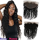 Rossy&Nancy Brazilian 8A Grade Human Hair Lace Frontals 13×6″ Deep Wave Free Part Full Ear to Ear Frontal Lace Closure with Baby Hair Light Bleached Knots Natural Black Color 18inch Review