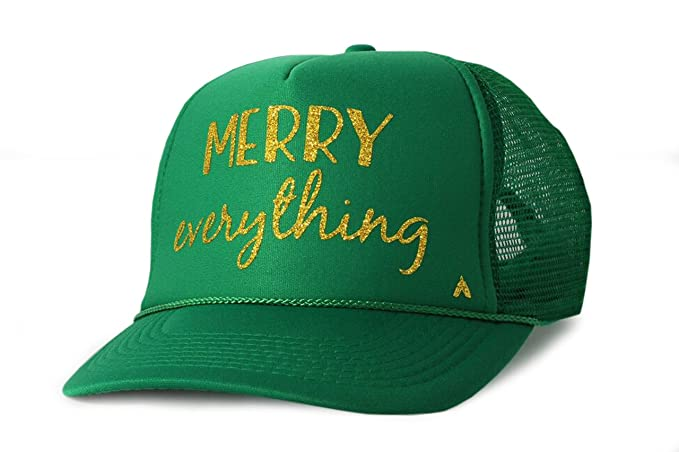 43ec30c52cd Women s Merry Everything Holiday Trucker Hat With Gold Glitter Print One  Size