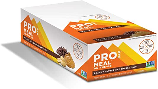 PROBAR - Meal Bar, Peanut Butter Chocolate Chip, 3 oz, 12 ct - Non GMO, Gluten Free, Plant-Based Whole Food Ingredients, Natural Energy