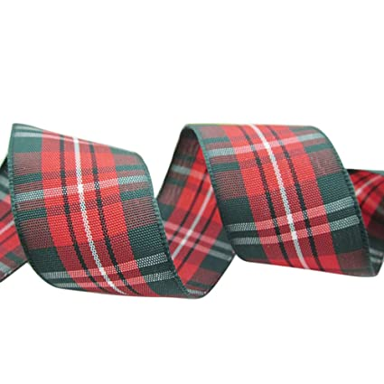 ornerx retro plaid christmas ribbon 1 12