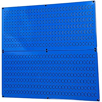 Pegboard Rack Wall Control Steel Pegboard Pack Blue Peg Boards - Two 32-Inch x 16-Inch Blue Horizontal Metal Pegboard Panels