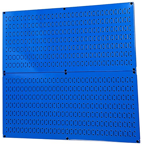 - Pegboard Rack Wall Control Steel Pegboard Pack Blue Peg Boards - Two 32-Inch x 16-Inch Blue Metal Pegboard Panels