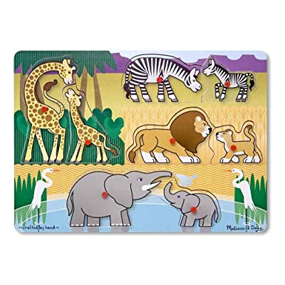 Melissa & Doug Mother and Baby Wild Safari Animals Wooden Peg Puzzle (8 pcs): Melissa & Doug: Toys & Games