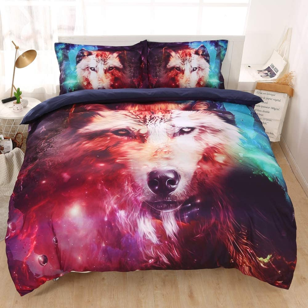 IMIEE Galaxy Wolf Duvet Cover Bedding Sets 3 Pieces Queen Size for Teen Kids, Tencel Cotton Galaxy Wolf Comforter Cover Sheet Sets with Pillowcases(Queen)