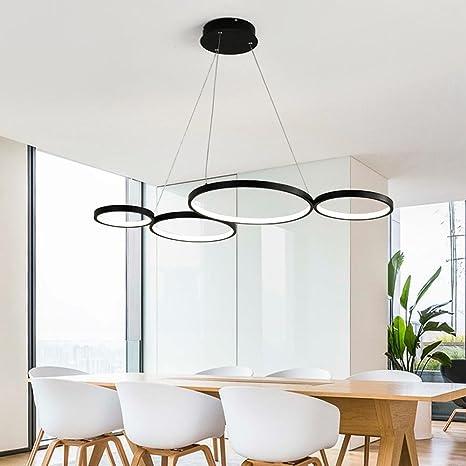 LED Luces colgantes Moderno Elegante 4 Negro Anillo Redondo ...