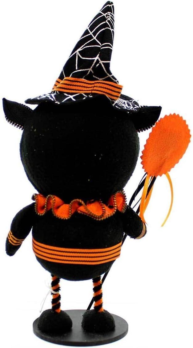GALLERIE II 12 Black and Orange Cat Zipper Halloween Figure