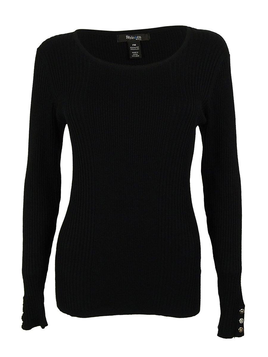 Style & Co. Women's Long Sleeve Scoop Neck Sweater (PL, Deep Black)