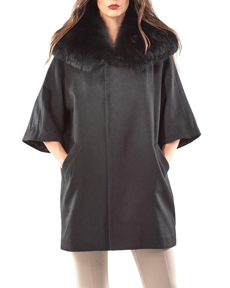 Black Cashmere Cape Coat with Fox Fur Collar