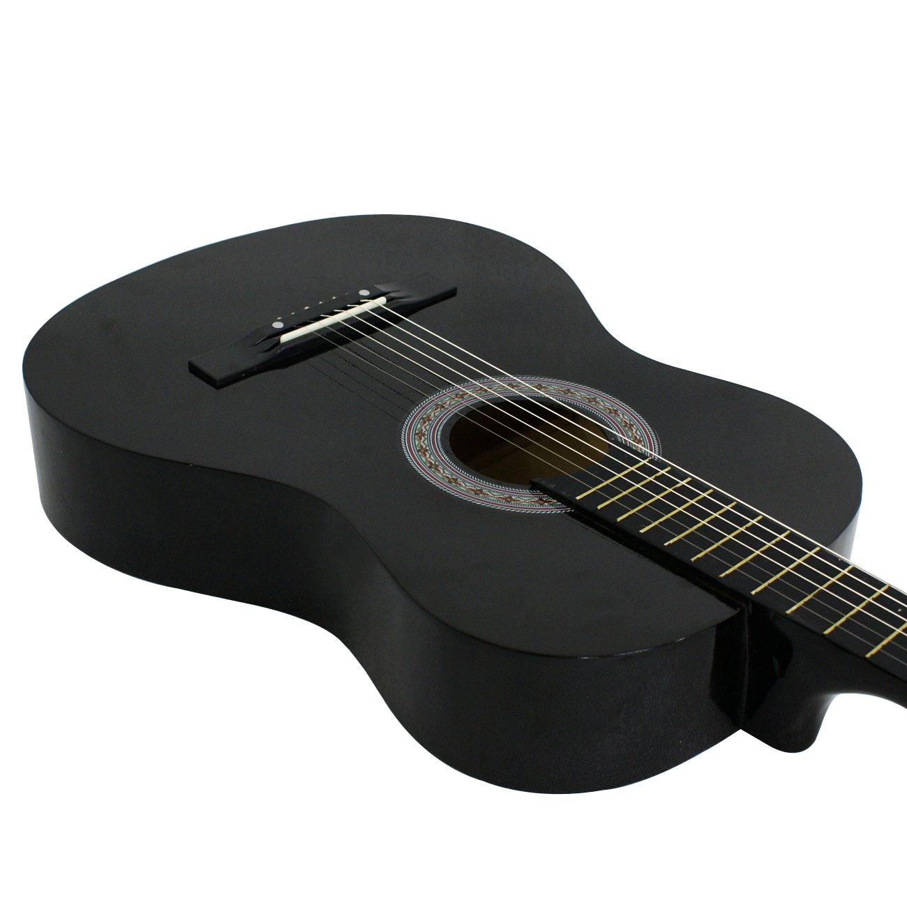 ZENY Beginners 38'' Acoustic Guitar Package Kit for Right-handed Starters Kids Music Lovers w/Case, Strap, Digital E-Tuner, and Pick, Black by ZENY (Image #7)