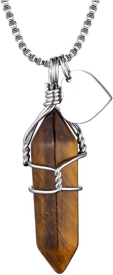 1x Wire Wrap Natural Gemstone Stone Hexagonal Prism Healing Chakra Pendant