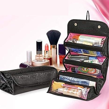 LU KU Organizador de Maquillaje Paquete, Maquillaje Cosmético Bolsa Estuche Mujer Maquillaje Bolsa Colgante Artículos de Viaje Kit de Viaje Organizador de joyería Estuche cosmético,Negro: Amazon.es: Deportes y aire libre