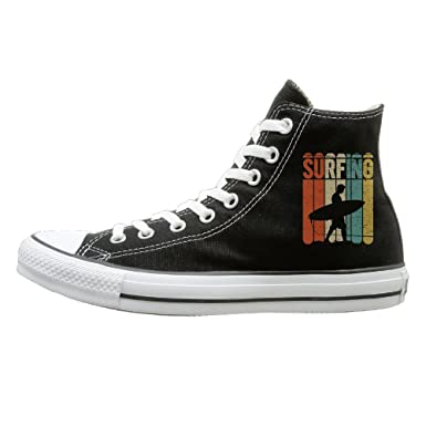 8f1b770646139 Amazon.com: Shenigon Surfing Vintage Canvas Shoes High Top Casual ...