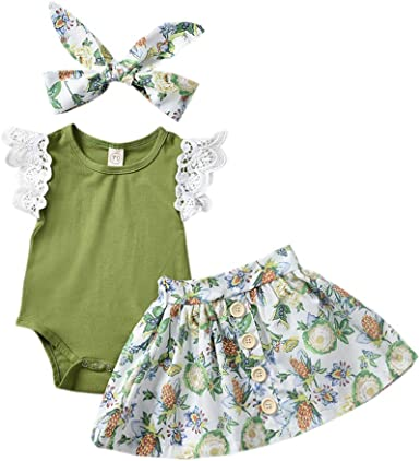 Baby Girls Floral Lace T-Shirt and Shorts Pants with Headband 3PCS Outfits