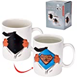 """Antner Father's Day Gift """"SUPER DAD"""" Magic Heat Sensitive Coffee Mug Novelty Color Changing Ceramic Cup, 12 Ounce"""