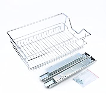Kitchen Sliding Cabinet Organizer,Pull Out Chrome Wire Storage Basket  Drawer For Kitchen Cabinets Cupboards