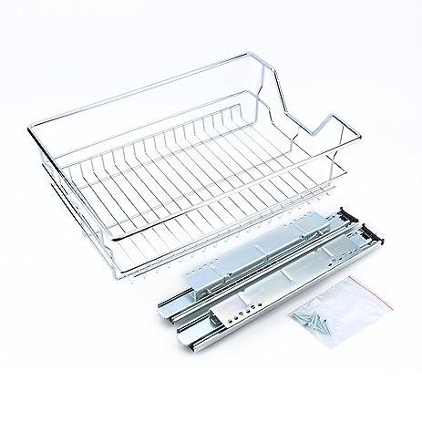 Amazon.com: Kitchen Sliding Cabinet Organizer,Pull Out Chrome Wire ...