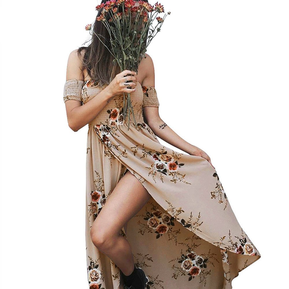 0aa6dfe768e22e Women Floral Off The Shoulder Split Chiffon Maxi Beach Dress Wedding Party  at Amazon Women's Clothing store:
