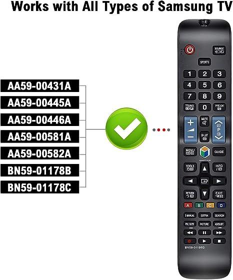 Alkia BN59-01198Q - Mando a distancia de repuesto para Samsung 3D LCD LED Smart TV UE32J5550 UE32J6250 UE32J6350 UE40J6250 UE40J6350 UE40JU6400: Amazon.es: Electrónica