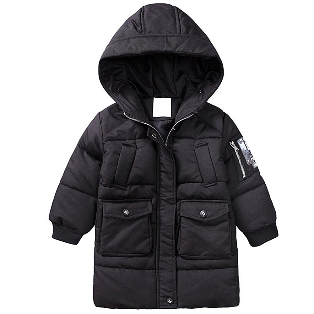 QJH Boys Kids Quilted Warm Winter Puffer Coat With Hood(Mid-Length) qz170