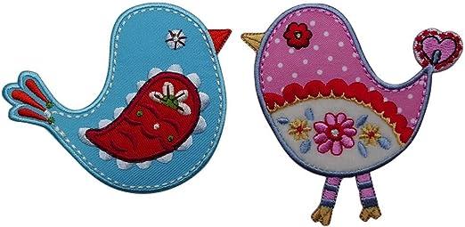 Vögel blau 9x8cm pink 9x9 cmAufnäher Patches für Jeans Stern Kleider Bekleidung Flicken Baby Kinder Geschenk Applikation Motiv Dekoration nähen