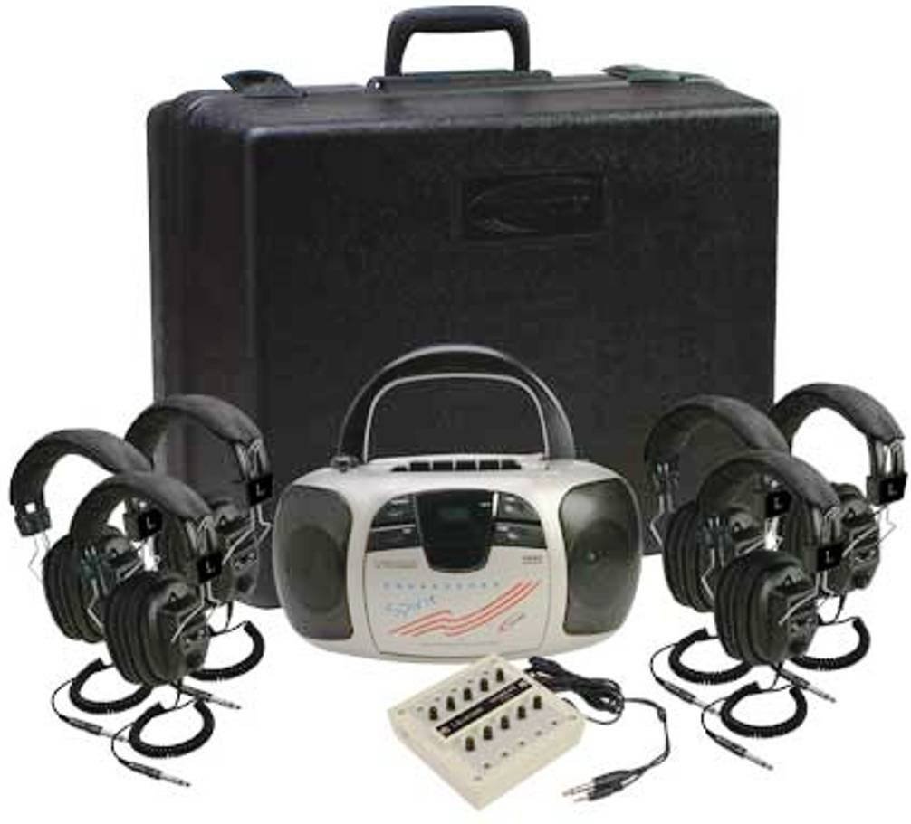 Califone 1776PLC-6 Spirit Stereo Listening Center; Includes: Spirit 1776 Multimedia Player, Foam-lined carry/storage case, Ten-position stereo jackbox with individual volume controls and Six 3068 Stereo Headphones