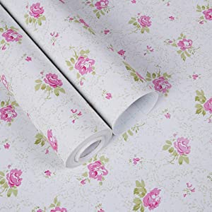 TaoGift Self Adhesive Vinyl Pink Floral Shelf Drawer Liner Contact Paper for Cabinets Dresser Furniture Wall Arts Crafts Sticker Decal (White, 17.7x117 Inches)