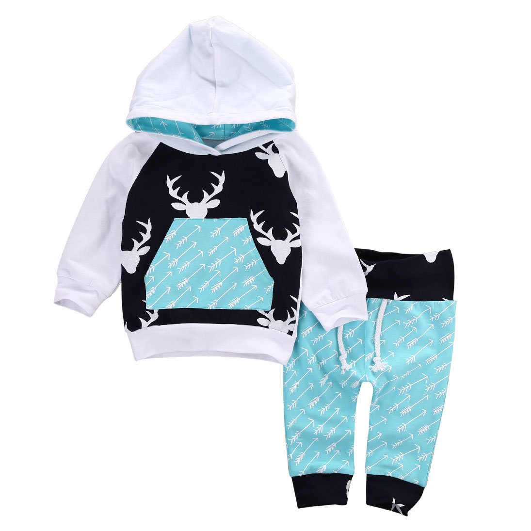 Weihnachten Christmas Unisex Kinder Outfits - Highdas Mädchen Jungen Sportanzug Outerwear Elch Hooded Shirt + Hosen 2 Stück Weihnachtsset Sport Änzuge 0-5 Jahre D171012SY2