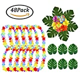 Hawaiian Leis Necklace Luau Flower + Summer Silk Flowers + Tropical Palm Leaves Artificial Monstera Plant Leaves Holiday Wedding Beach Birthday Decorations Lei Party Favors,Total 48 Pack