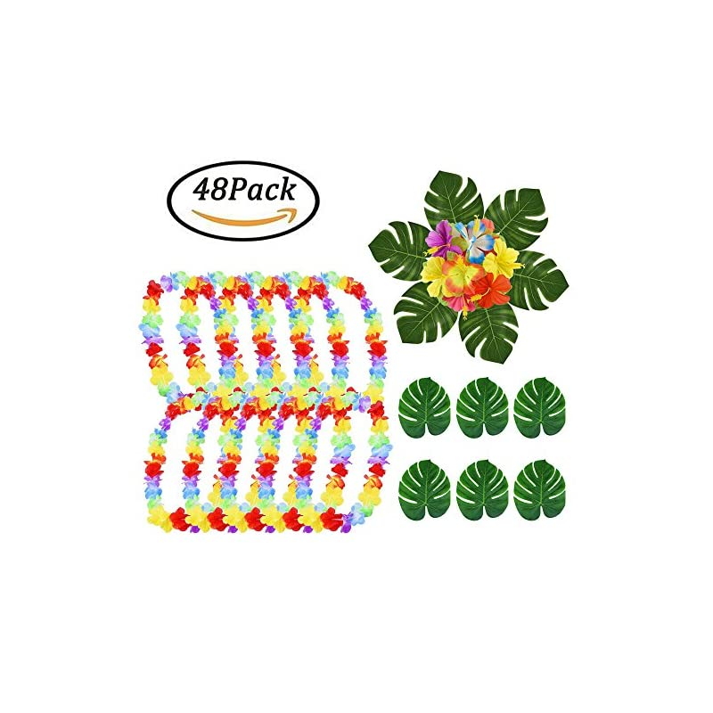 silk flower arrangements hawaiian leis necklace luau flower + summer silk flowers + tropical palm leaves artificial monstera plant leaves holiday wedding beach birthday decorations lei party favors,total 48 pack