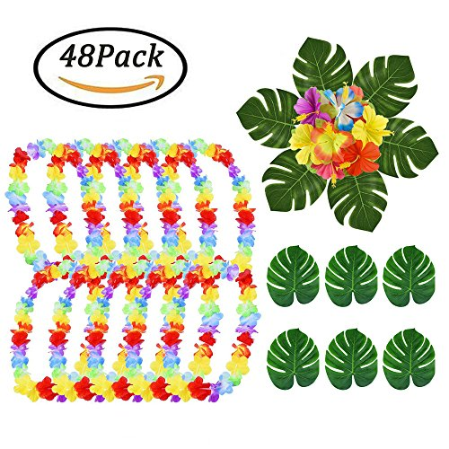 Hawaiian Leis Necklace Luau Flower + Summer Silk Flowers + Tropical Palm Leaves Artificial Monstera Plant Leaves Holiday Wedding Beach Birthday Decorations Lei Party Favors,Total 48 -