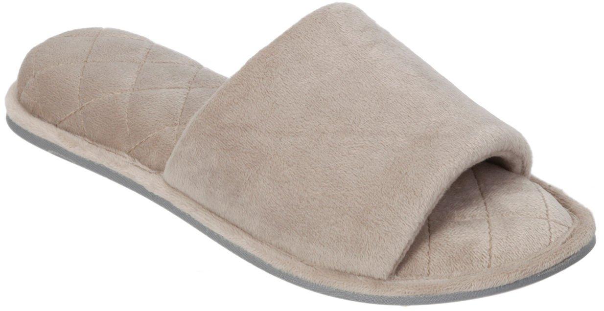 Dearfoams Womens Velour Open-Toe Scuff Slippers DF60103 (Medium, Pewter)