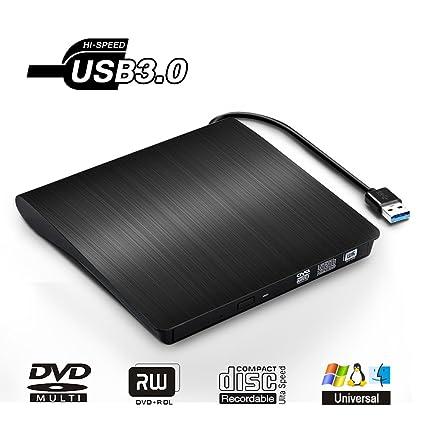 Jirvyuk Lector/ Escritor Externa de CD/DVD Grabadora Portátil de USB 3.0, Unidad Óptica de CD/DVD con Capacidad de Corrección de Errores, Diseño ...