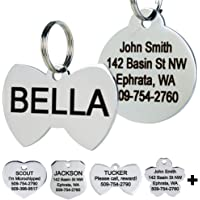 GoTags Stainless Steel Pet ID Tags, Personalized Dog Tags and Cat Tags, up to 8 Lines of Custom Text, Engraved on Both…