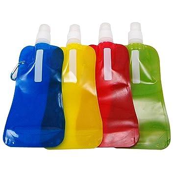 SODIAL(R) Botella de Agua Plegable Deportivo Reutilizable & Mosqueton