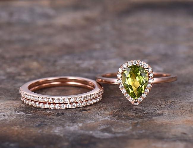 Amazon Com 3pcs Pear Peridot Wedding Ring Set Green Gem Engagement