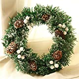12 Inch Christmas Pine Needles Wearth Garland with Balls Flowers and Letters for Front Door Outdoor Decorations (A)