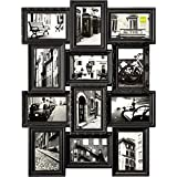 nexxt Revet Dual Level Collage Picture Frame, Holds 12- 4 by 6 Inch Photos, Black
