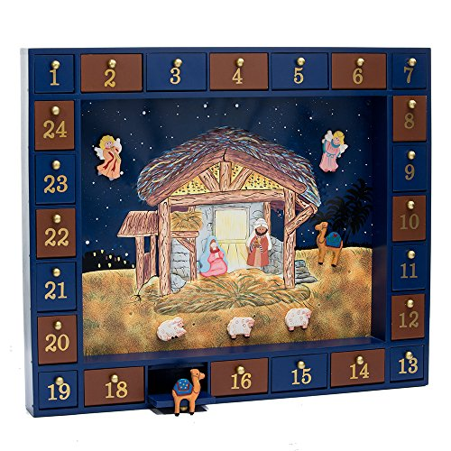Kurt Adler J3767 Wooden Nativity Advent Calendar with 24 Magnetic Piece ()