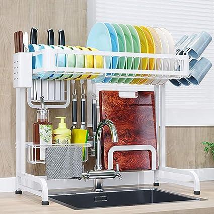 64CM Edelstahl Küchen Regal Besteckhalter Geschirrtrockner Teller Schüssel Spüle