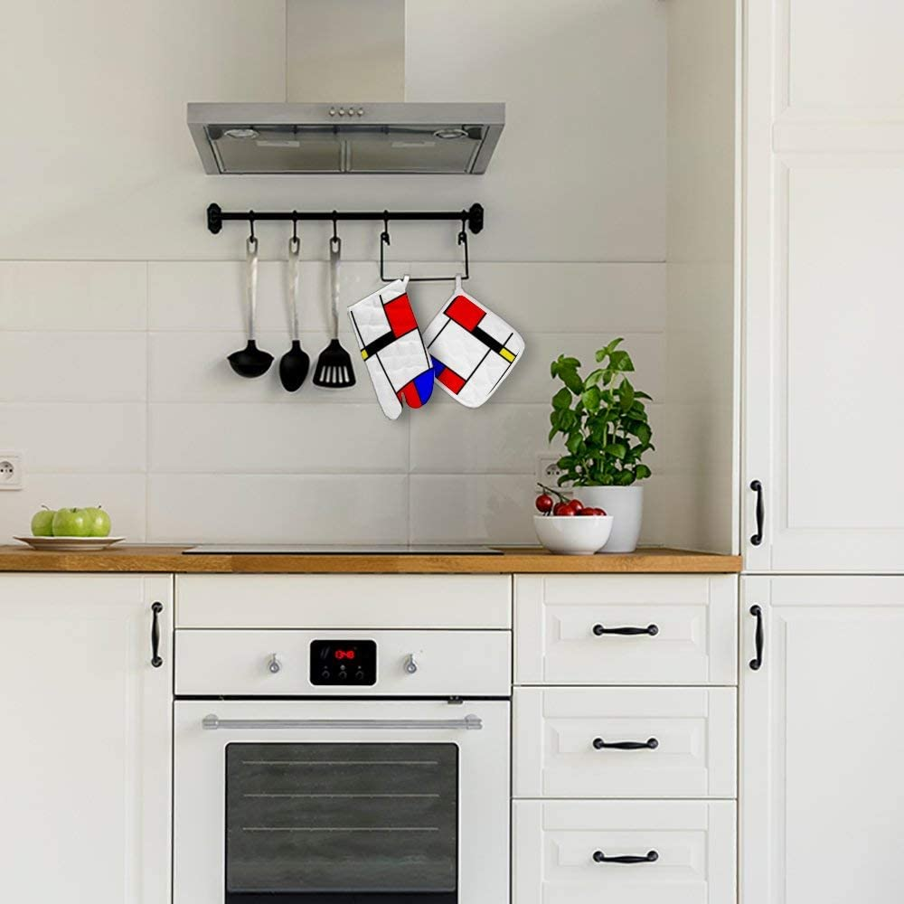Gants de cuisine Mondrian En coton Doublure int/érieure douce Isolation pour four /à micro-ondes R/ésistant /à la chaleur